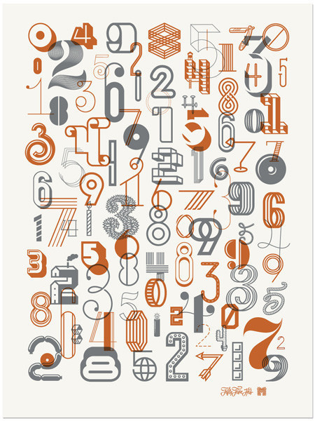 The Numbers 2 Poster by Fifty Five Hi's & Michael Spitz #lettering #numerals #vector #prints #illustration #posters #numbers #collaboration #typography