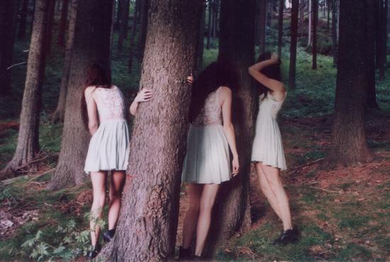 Marie Zucker #photo #nymphs #forest #dress #trees