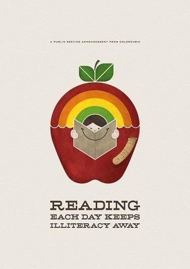 PSA Reading Print | Colorcubic #colorcubic #print #psa #books #colors #reading #poster #rainbow