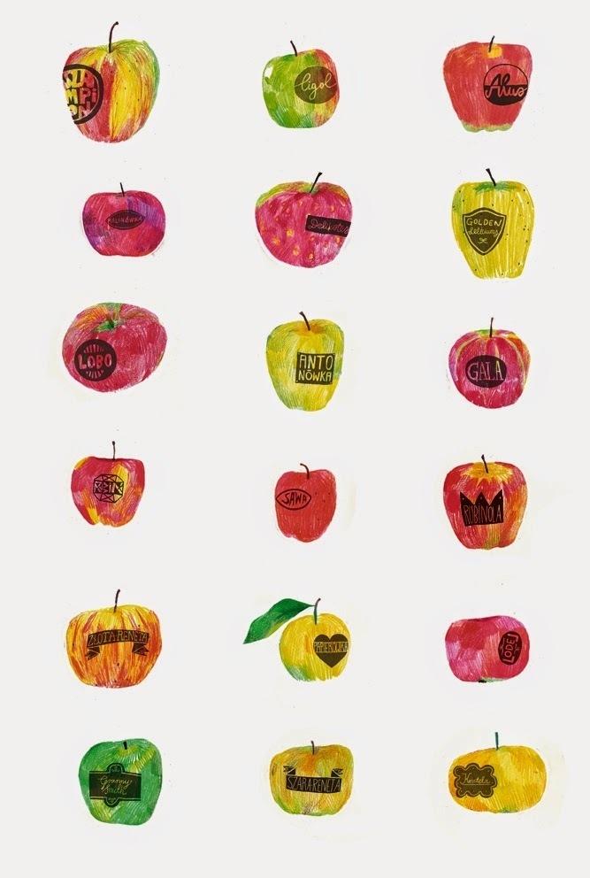 czerniakzły: jabułka na maj #illustration #apple #fruits #poster