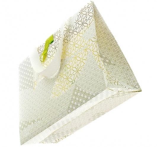 Laser cut, foil blocked retail bag / Progress Packaging #cut #stamp #pattern #design #laser #foil #package