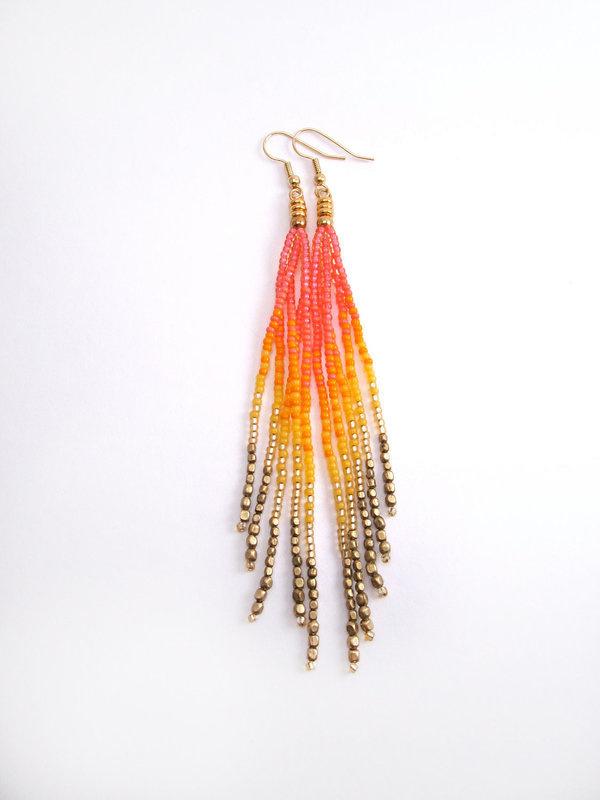 Neon Rainbow Fringe Earrings #earrings #jewelry