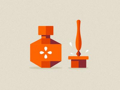 Ink & Pen #flat #color #orange #icons #illustration