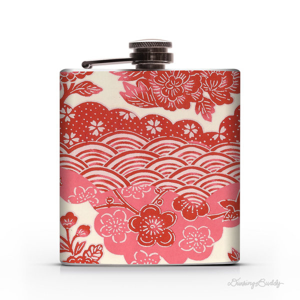 Pink and Red Japanese Yuzen Floral 6oz Hip Flask #red #flask #japanese #floral #japan