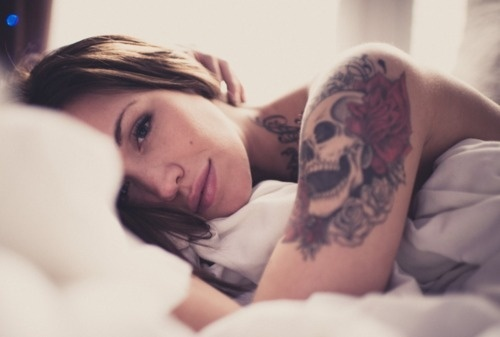 Chip K // #woman #photography #portrait #tattoos #skull #beauty