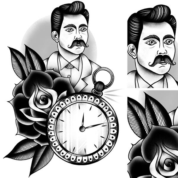 Tattoo Design© 2012 Tom Gilmour #illustration #tattoo #moustache