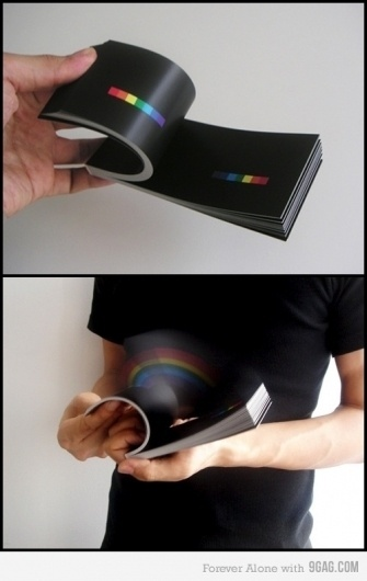 9GAG - A rainbow in your hands #graphic #book #flip #rainbow #cool