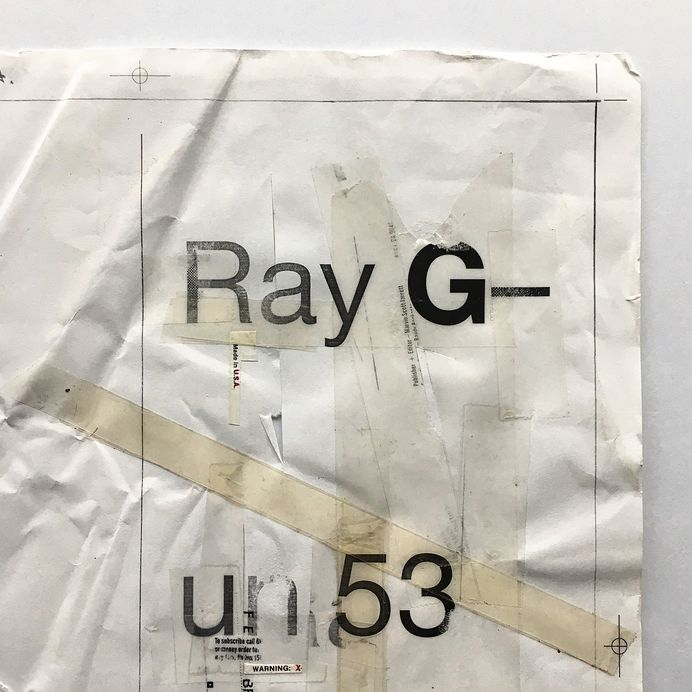 From the archive. In-progress artwork (swipe for details) for the Ray Gun 53 (Goldie Cover) Masthead Page. Created on 27th Nov '97 at 12.15pm. I've never been quite sure why the editorial team (@deankuipers) referred to this inside page as 'the masthead' because I've always referred to the name of the magazine as it appears on the cover as 'the masthead'? Anyway, the right side of this page (when completed) carried the names of everyone who worked on the magazine, and the left side was reserved for a half page ad. What you see here is work in progress - once this artwork was finished it was scanned in and the magazine info was typeset over it. For the design I printed out a bunch of varying weights of the magazine name/issue number in sans and then began to hack into the laser print with a scalpel, as well as layering over some'sellotape rules' and grabbing bits of type from other lasers and old magazines to paste in to the layout - this was a technique I'd used 3yrs earlier on the book 'Interference' and had become my absolute favourite method of working - I loved haw tactile it was. I first learned this method at York College Of Arts & Technology by my illustration tutor - Roger Hallam. Roger was a true one-of-a-kind and had a phenomenal impact on my subsequent approach to graphic design. This artwork sheet has got more yellow over time which as far as I'm concerned is always a good thing. #swissgrit #raygunmagazine #graphicdesign #design #type #typography #letraset #music #magazine #art #handmade #typographyinspired #typedaily #dailytype #typographic #typographicart #swisstype #swisstypography #swissdesign #typeinspire #typeinspired #graphicdesigner #graphicart #typographydesign #designinspiration #collage