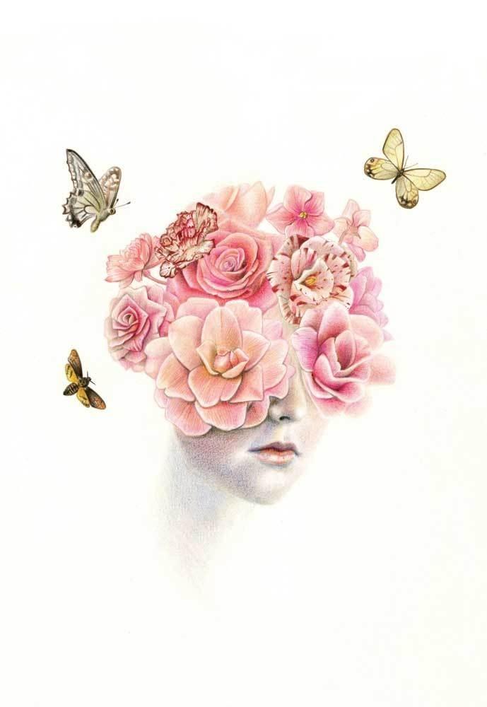 Dan Des Eynon #petals #pink #design #head #butterfly #perfume #illustration #portrait #art #flowers