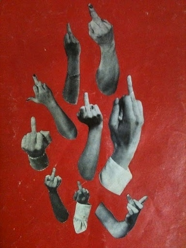 JJJJound #red #fuck #off #the #hands #finger #collage #drawing #middle