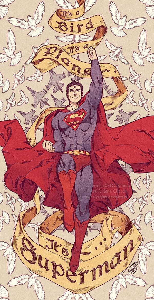 Superman by SaiyaGina | Inspiration DE #strength #superhero #dc #flight #cape #bird #flying #illustration #plane #poster #paintings #superman