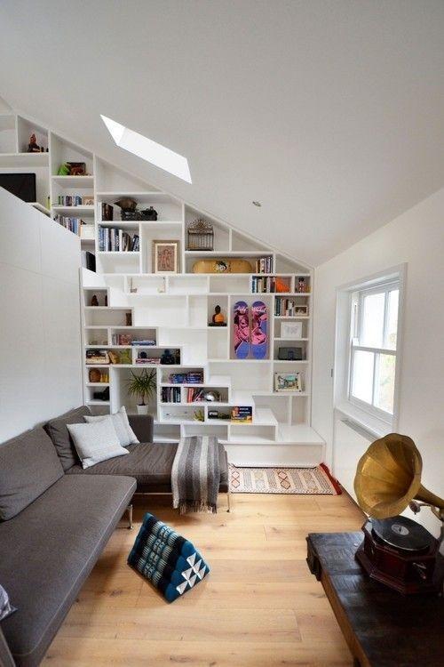 interior design home decor living room 5 http://www.womans heaven.com/living room interior design 2/ #stairs #bookshelf