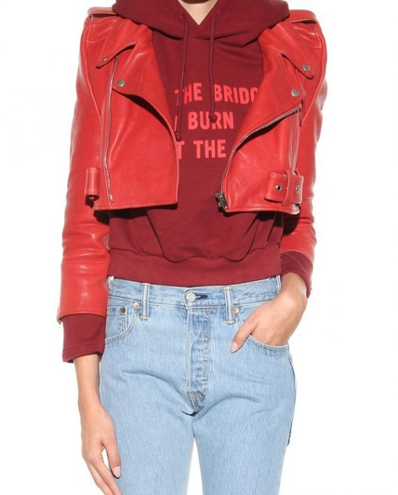Bebe Rexha The Way I Are Red Leather Jacket (9)