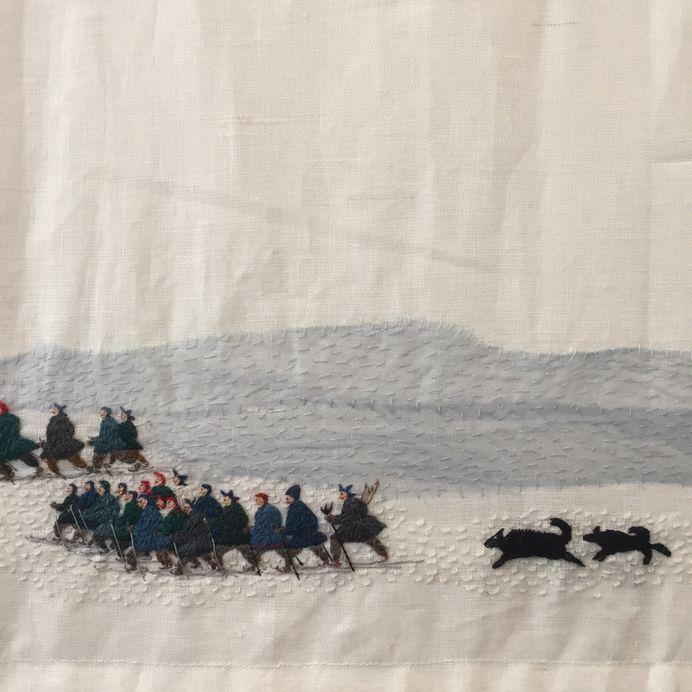 "stitchingsanity: "" shihlun: "" Britta Marakatt-Labba (b. 1951, Idivuoma, Sweden) - Historja (2003–07) Embroidery, print, appliqué, and wool on linen ""Britta Marakatt-Labba was born in Idivuoma, outside of Kiruna in northern Sweden, Growing up with a..."