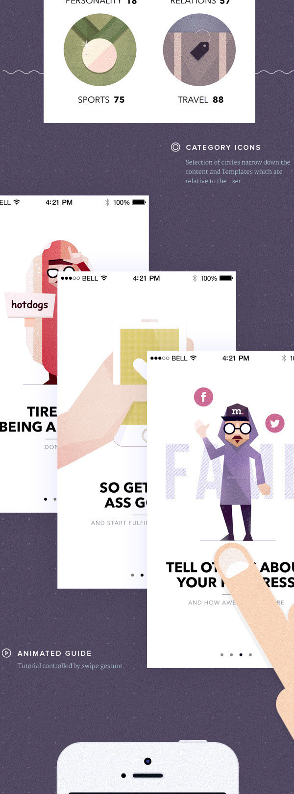 I really really really like the character design and styling of this app explanation. #ux #design #visionare #ui #illustration #app #character