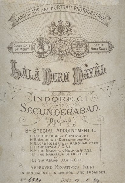 Back of Cabinet Card from Indore Studio, 13 January #text #india #vintage #type #typography