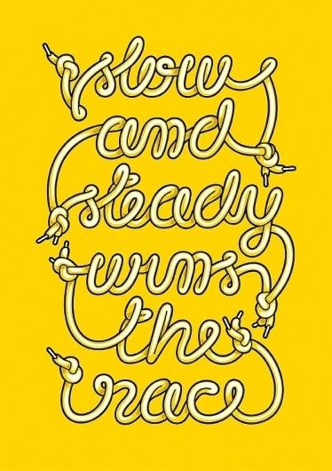 CUSTOM LETTERS, BEST OF 2010, DAY 1 — LetterCult #lettering #yellow #alex #beltechi #illustration #shoelace #type