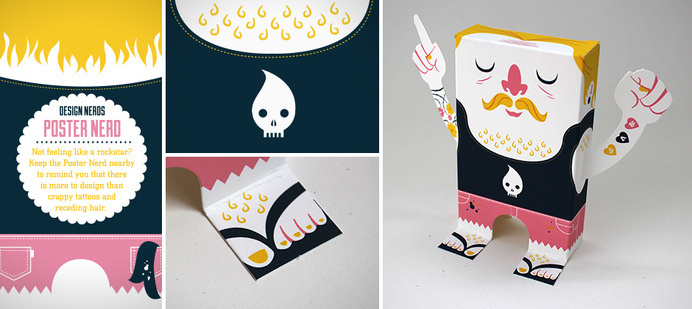 Poster Design Nerd #design #mustache #paper #illustration #craft #league #delicious #skull #character