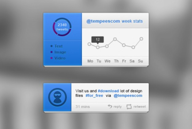 Blue ui kit with twitter blocks Free Psd. See more inspiration related to Blue, Website, Twitter, Ui, Psd, Element, Web elements, Block, Ui kit, Blocks, Horizontal, Kit, Stats and Tweet on Freepik.