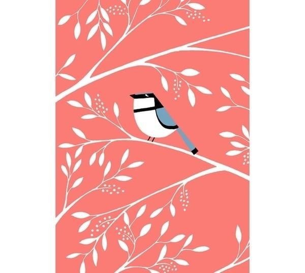 PINK #kalorkoti #pink #eleni #bird #illustration #leaves