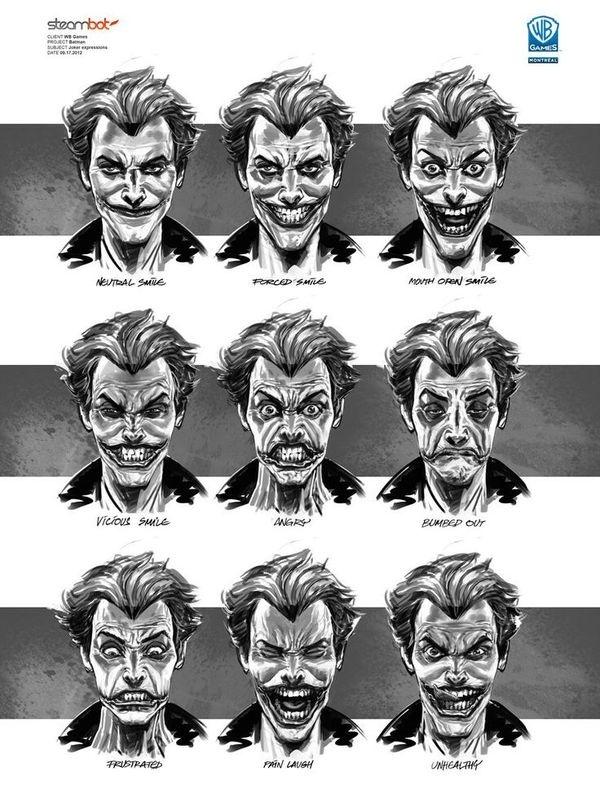 Joker BATMAN: ARKHAM ORIGINS Concept Art: Character, Weapon & Prop Designs #joker #expressions #batman