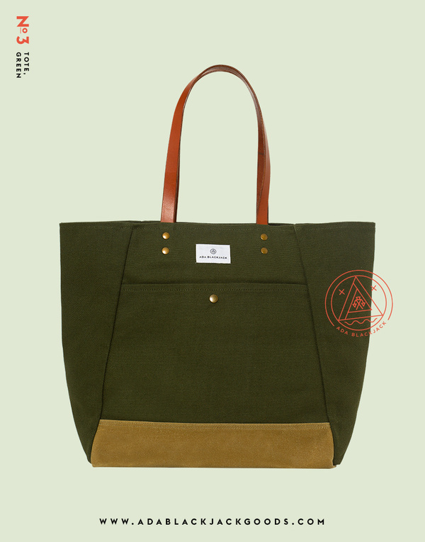 No. 3 Tote, Greenwww.adablackjackgoods.com #product #shot
