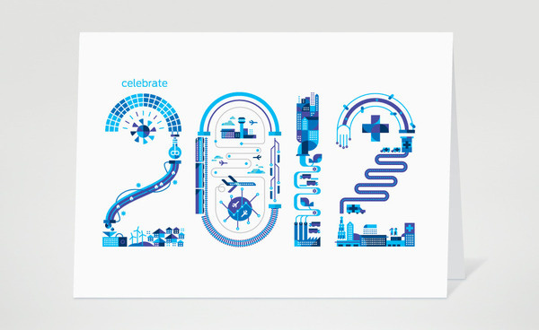 GE 2012 Holiday card highlighting the company's commitment to Energy, Transportation, Manufacturing and Health.