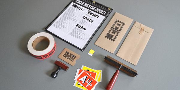 Area Four #stamp #roller #branding #print #menu #identity #logo #sticker