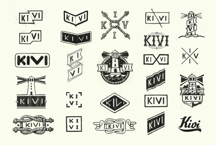 Sketches of logos for the KIVI company producing accessorizes #knot #branding #process #hipster #lighthouse #rope #identity #gif #minimal #logo #pencil #sketch