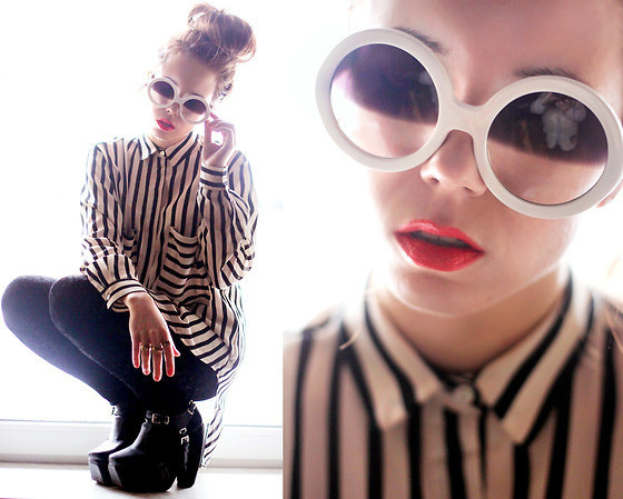 Choies Shirt, Sunglasses, Modekungen Shoes #fashion #photography #woman