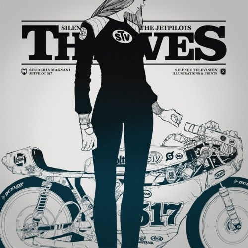 supersonic electronic / art #ink #white #woman #jetpilot #television #black #silence #cover #and #motorcycle