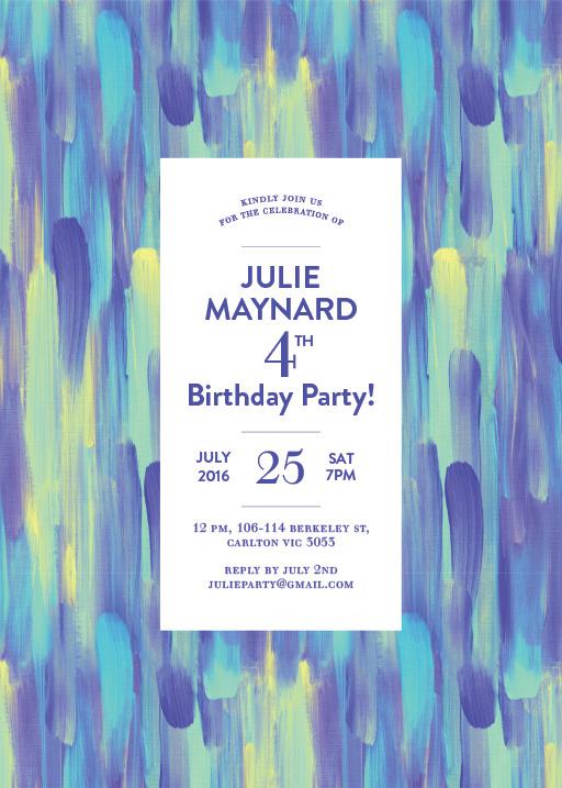 Paint Strokes - Birthday Invitations #paperlust #paper #cards #print #digitalcards #design #birthday #birthdayinvitation #invitation #weddi