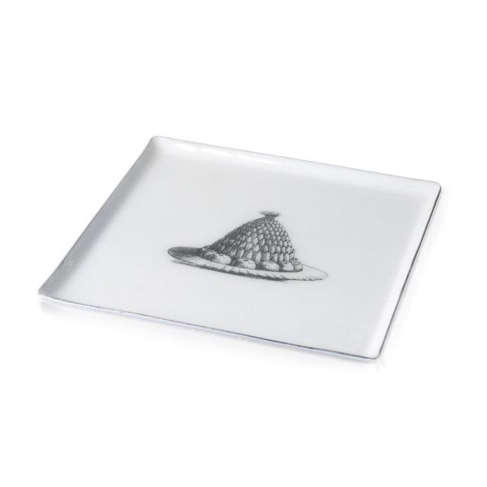 Jelly Plate Square Aluminium And Enamel White 27cm x 27cm