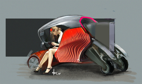 Heaven4D: Photo #girl #vehicle #fi #sci #illustration #heels #painting #car