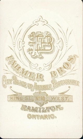 All sizes | Farmer Brothers of Hamilton, ON - Young Man - CDV - back | Flickr - Photo Sharing! #monogram #vintage #typography