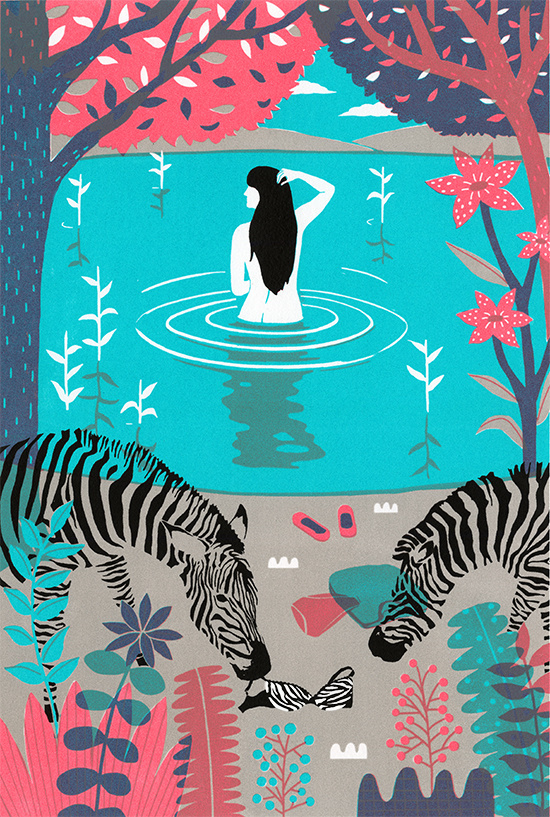 tumblr_mrudh92cxX1rymh72o1_1280 #lake #illustration #zebra #woman
