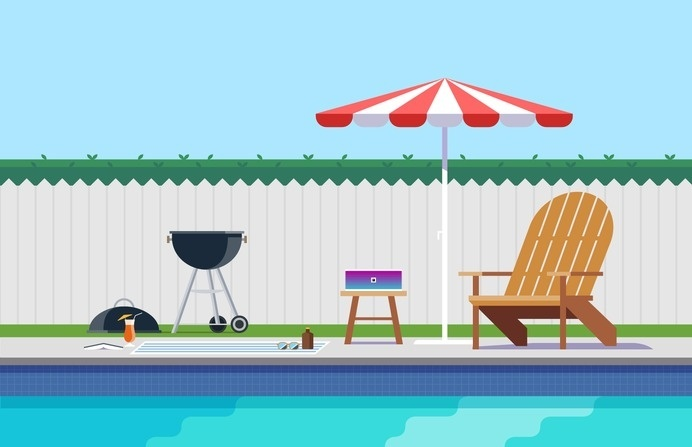 Backyard Pool Illustration – Nathan Manire #retro #icons #theme #illustration #vintage #anorak #midcentruy #decoration #modern #design #color #geometric #series #lounge #flat #soundfreaq #backyard #summer #interior #chair #decor #home #simple #pool #library