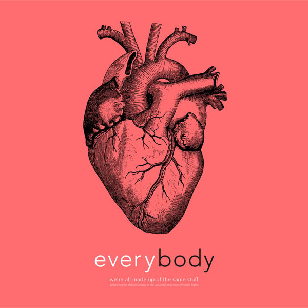 Human Rights - Using Flat Design in Web & Print Projects #heart #genetics #pink #print #design #graphic #anatomy #rights #everybody #humanity #type