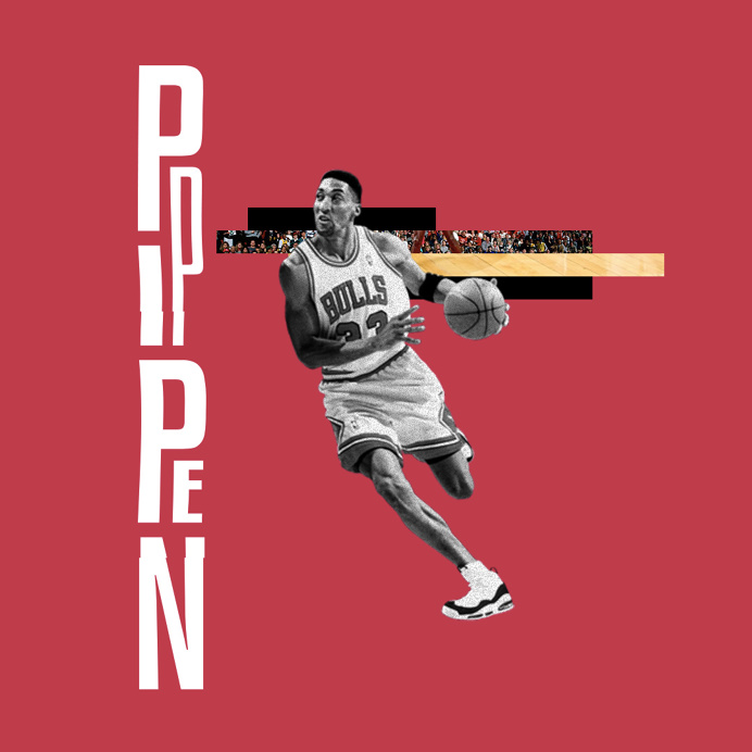 Sports! Heroes. | 01_Pip #scottiepippen #chicagobulls #chicago #AkzidenzGrotesk #Akzidenz #collage #glitch #nba #ballislife #basketball