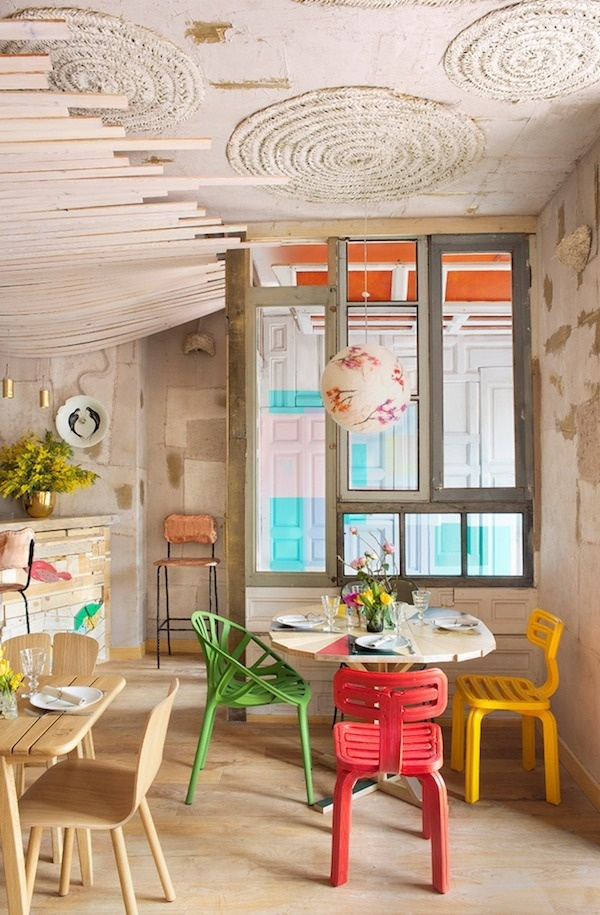 MamaCampo restaurant eclectic design with decors and pastel shades - www.homeworlddesign. com (1) #madrid #design #interiors #restaurant