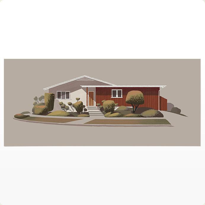 Chris Turnham's Print Shop — Mid-Century Ranch on Rowena #illustration #ranch house #chris turnham #giclee