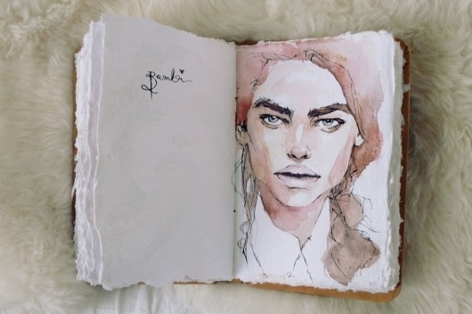 Kimberley's Sketchbook / Blog / Need Supply Co. #water #color #journal #human #illustration #face