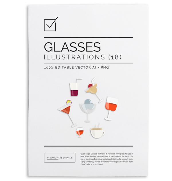 Cups Mugs Glasses Clip Art $3.50
