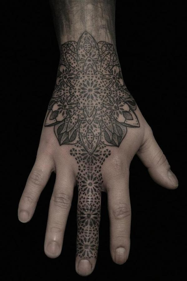 Impressive stippling tattoos by Kenji Alucky #ink #geometry #tattoo #hands #pointillism