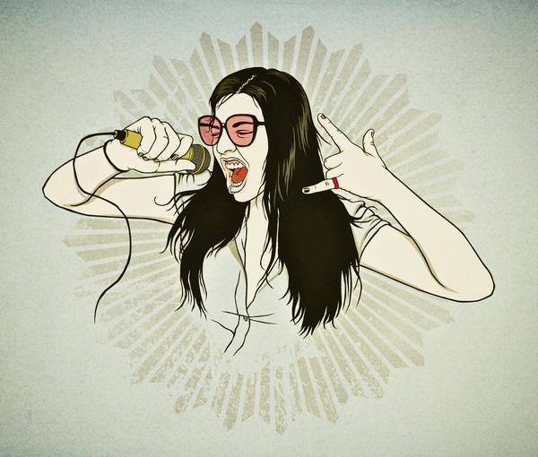 PORTRAITS RONLEWHORN INDUSTRIES #teeth #sunglasses #ronlewhorn #microphone #scream #illustration #portrait #scamihorn #vintage #musician #singer