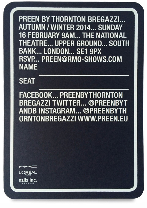 StudioThomson – Preen AW14 #fashion #invitation #typography