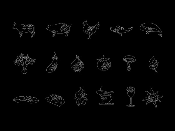 Scribbly line drawings of food #drawings #wich #food #restaurant