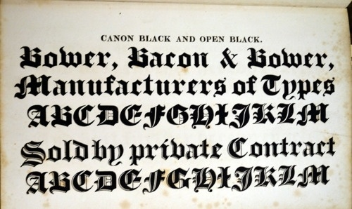Daily Type Specimen   Blackletter from Bower and Bacon's 1836 Catalog. #typography