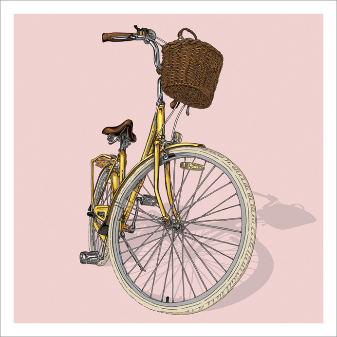 Bicycle Illustration Trilogy - 03 - Lady by Studio Epitaph http://www.studioepitaph.com/work#/bicycle-illustrations/ #bicycle #basket #illustration #bike #lady