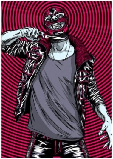 Google Reader (72) #throat #pink #black #illustration #wrestler #knife